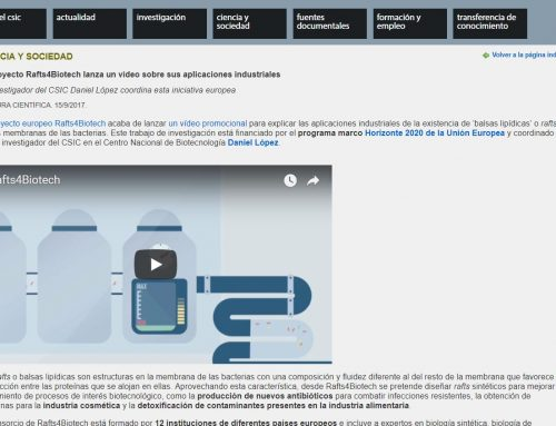 El proyecto Rafts4Biotech lanza un vídeo sobre sus aplicaciones industriales – CSIC