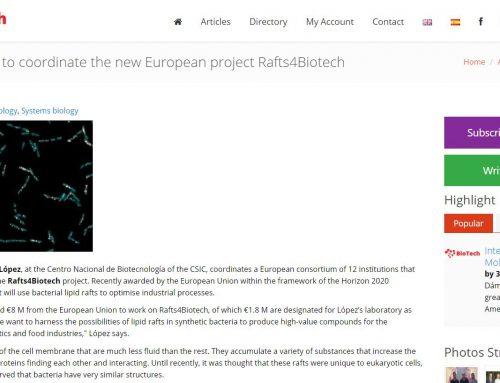 Daniel López to coordinate the new European project Rafts4Biotech – BioTech Spain