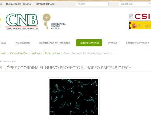 Daniel López coordina el nuevo proyecto europeo Rafts4Biotech – CNB CSIC